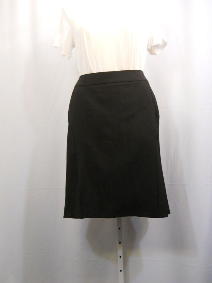 NY Collection Black Lined Flared Back Skirt Plus Size 18 22 24 #NYCollection #FullSkirt