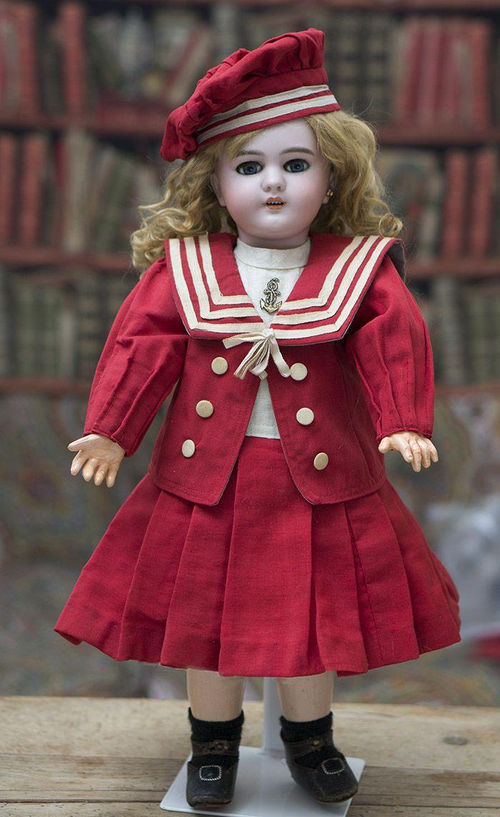 """19"""" (48 cm) Antique Bisque Bebe Dep Jumeau with Sailor Costume Antique Shoes Antique dolls at Respectfulbear.com"""