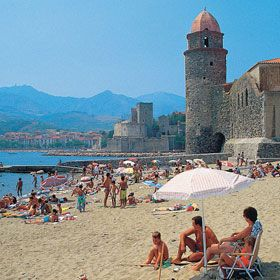 Beach at Collioure, Pyrenees, Orientales, Languedoc Roussillon, France