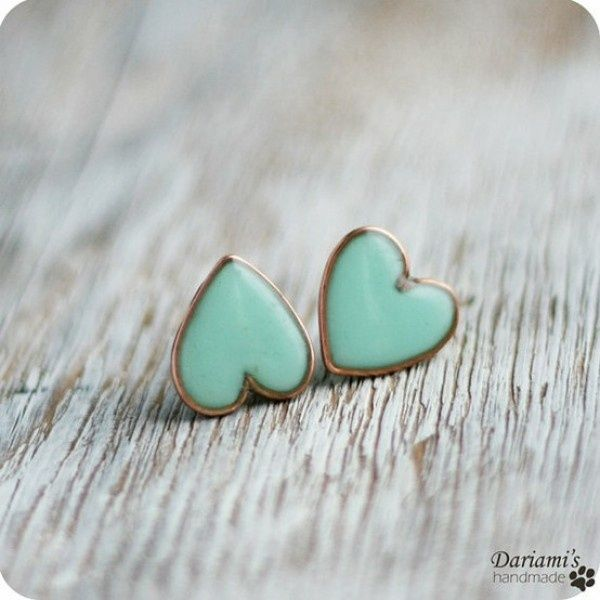 cute: Mintgreen, Mint Green, Heart Studs, Mint Earrings, Tiffany Blue, Mint Color, Heart Earrings, Something Blue, Blue Heart