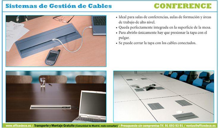 Conference Sistemas de Gestión de Cables, ideal para salas de conferencias, aulas de formación y áreas de trabajo de alto nivel.