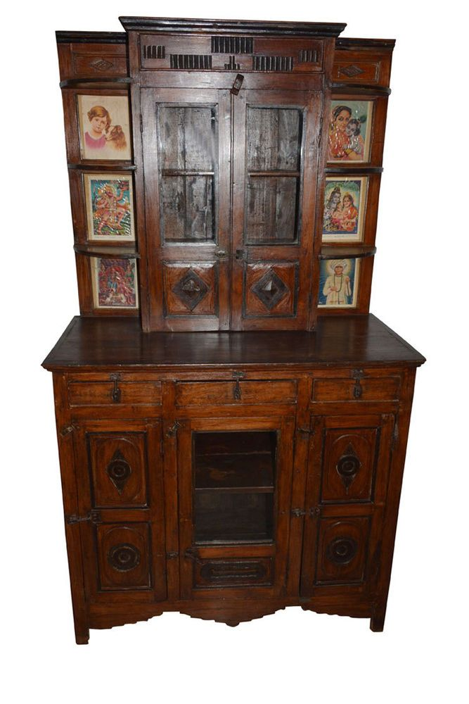 ANTIQUE WALL CABINET SHABBY CHIC DRAWER CHEST ALTAR INDIAN FURNITURE TEAK 18C  #ArtDeco #Wood