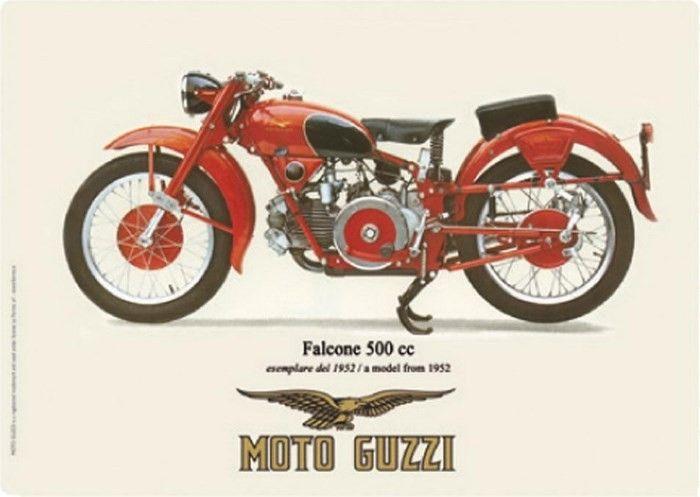Moto Guzzi 1952 – Falcone 500cc : Plaque décorative rétro en métal représentant une moto Guzzi. Idéal pour créer une décoration vintage dans un garage, un atelier de réparation ou même dans une concessionmoto.