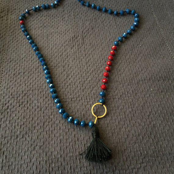 çin kristal boncuklar kırmızı boncuk Ahtamar tarafından mavi boncuk kolye