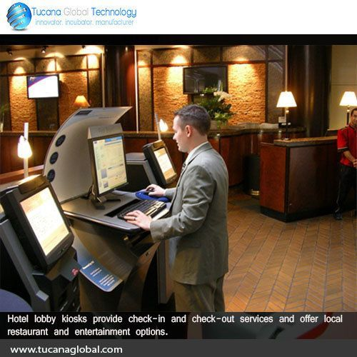 #Hotel #lobby #kiosks provide check-in and check-out #services and offer local #restaurant and #entertainment options. #TucanaGlobalTechnology #Manufacturer #HongKong