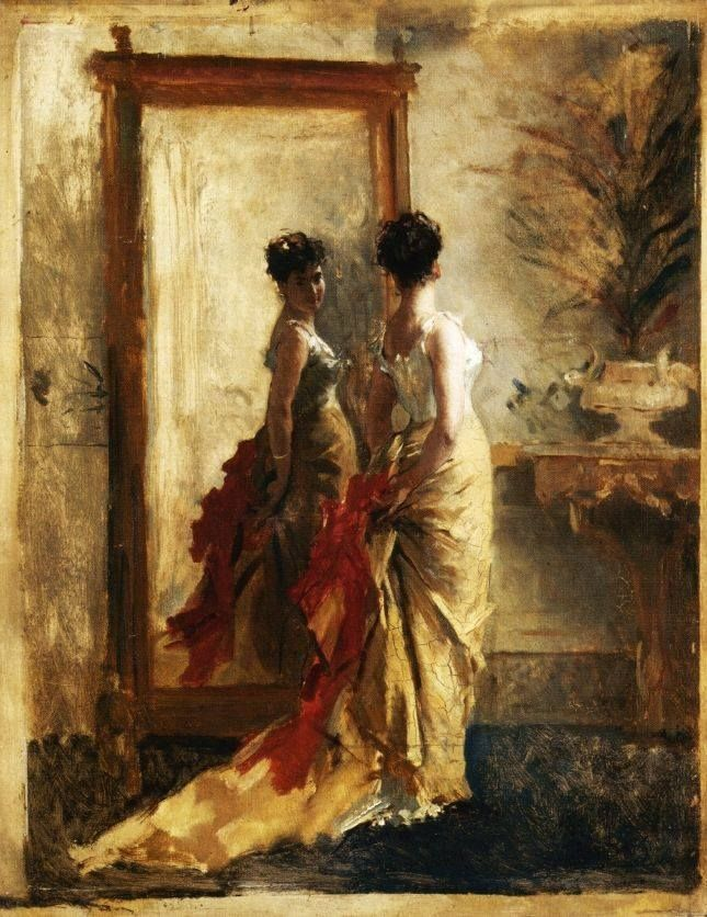 Mosè Bianchi (Monza, 1840–1904), Woman in front of a Mirror, 1900 ca., private collection, oil on canvas