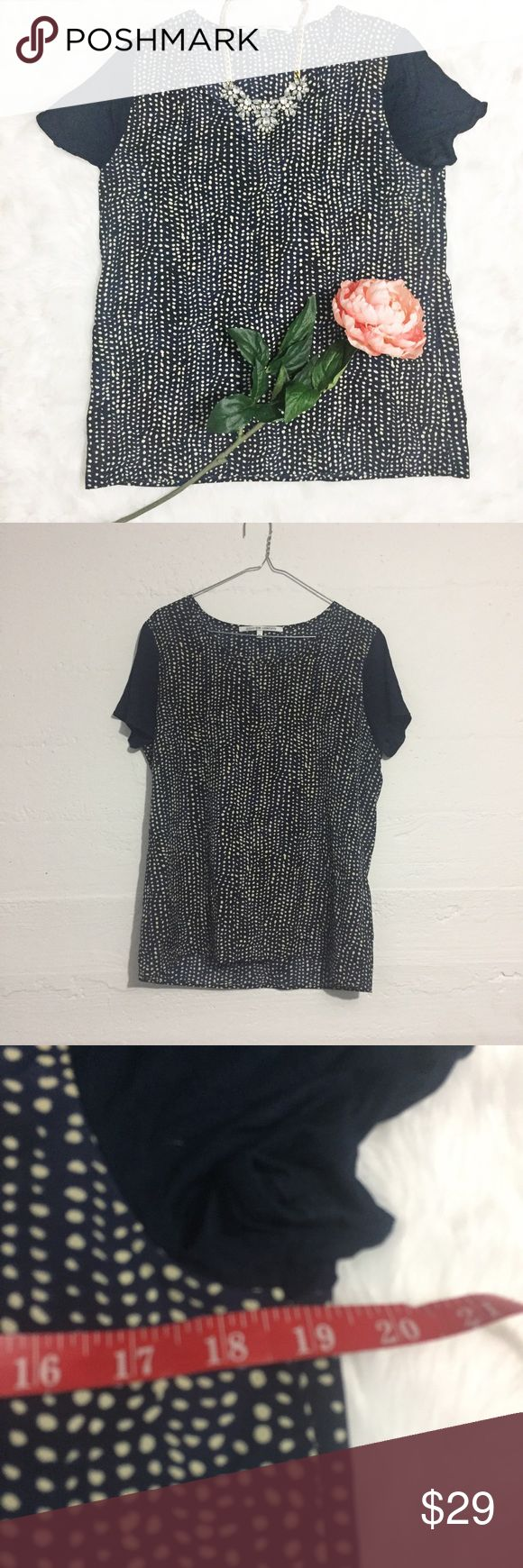 Navy short sleeve top with cream polka dots Navy short sleeve top with cream polka dots is a great piece for the office or everyday! Open to offers. No trades. Tops Blouses