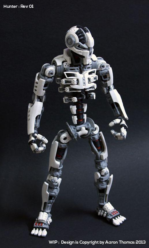 "fully posable 10"" action figure 'Ronin' -http://www.3ders.org/articles/20140319-maker-spent-6-months-building-a-3d-printed-fully-posable-action-figure.html -http://www.damaged-design.com/"