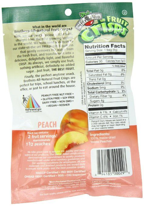 Amazon.com : Brothers-ALL-Natural Fruit Crisps, Peach, 0.28 Ounce (Pack of 24) : Dried Fruits : Grocery & Gourmet Food