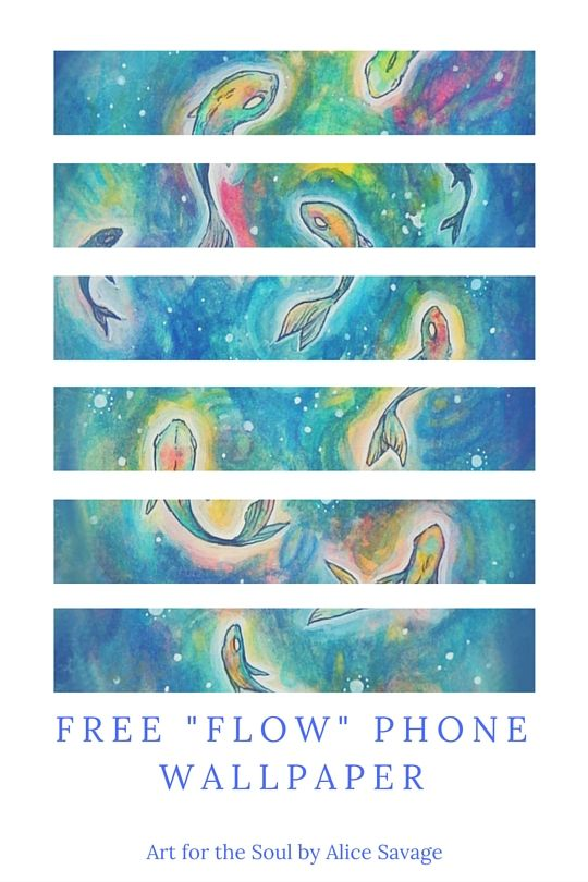 """""""FLOW"""" Free Phone Wallpaper from an original watercolor drawing by Alice Savage. Click to get it! - Magic, fish, water, flow, energy, gift -"""