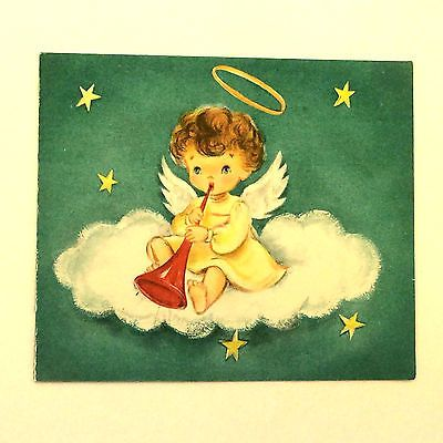 Vintage Christmas Greeting Card - Hallmark - Beautiful Baby Angel Cloud Trumpet