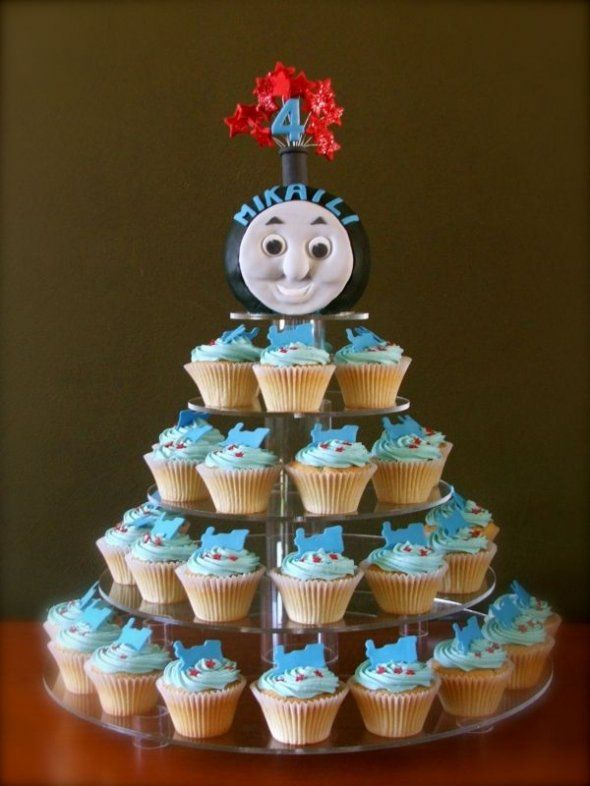 cupcake stand - @Sharon Fabyanic and @Kathy Patton - Another fun option might be to line the cupcakes up so that it looks like a long train with a Thomas pulling them all. :)