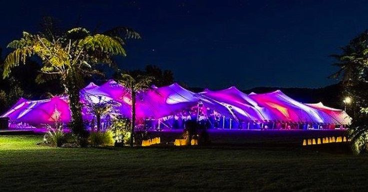 Our 16 x 36 Stretch Tents lit up with LED lighting for a corporate event. #events #stretchtents #stretchtentsbop #rotorua