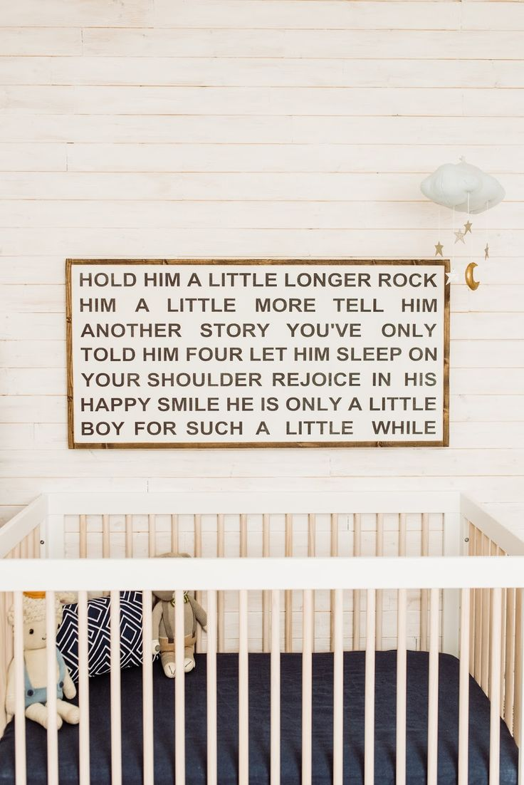Hold him a little longer nursery quote wood sign boy