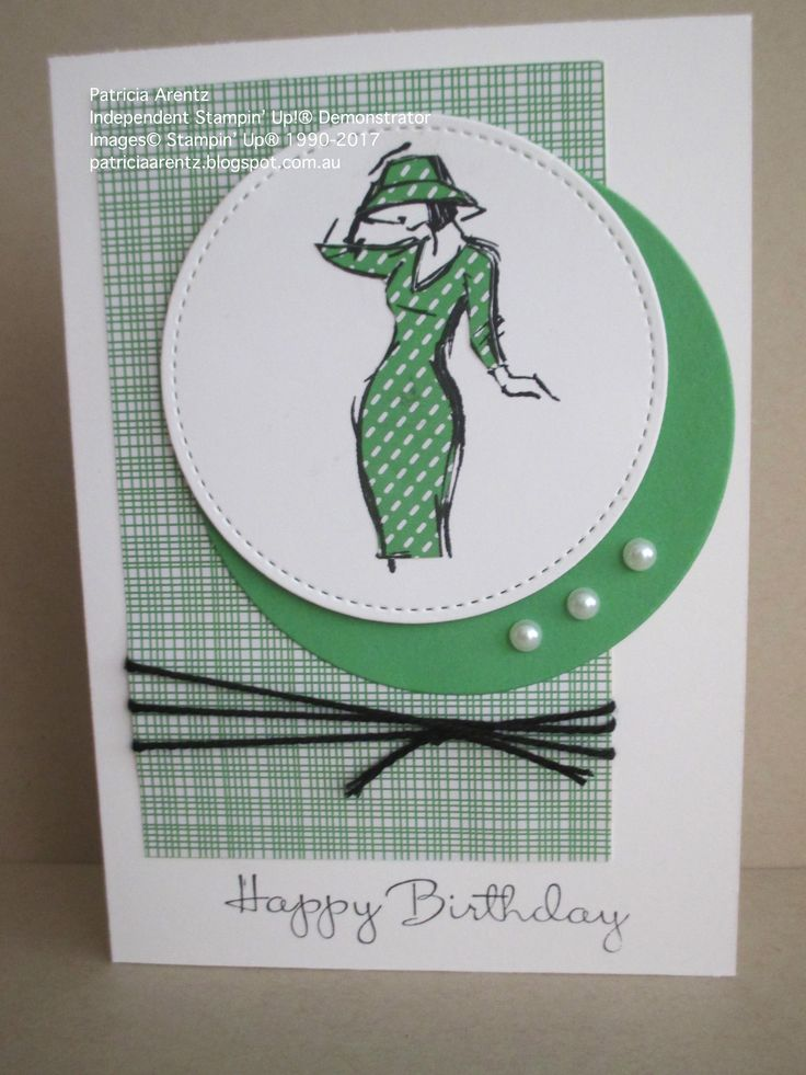 Birthday card - using Stampin' Up Beautiful You stamp set, Stitched Shape Framelits, Circles Collection Framelits, Cherry on Top DSP (retired), Thick Black Bakers Twine and Basic Pearls. Colours are Cucumber Crush, Basic Black and Whisper White.