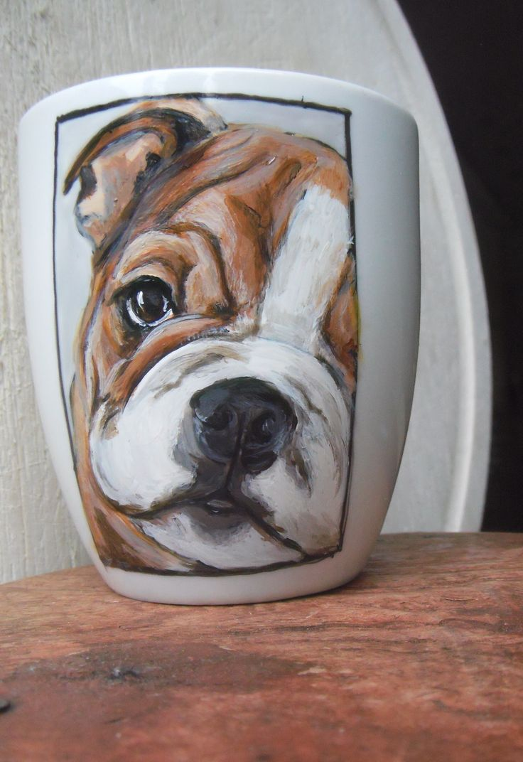 Hand painted Bulldog on a mug !