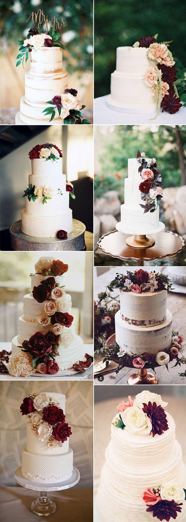 chic pretty burgundy wedding cake ideas