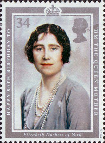 90th Birthday of Queen Elizabeth the Queen Mother 34p Stamp (1990) Elizabeth, Duchess of York