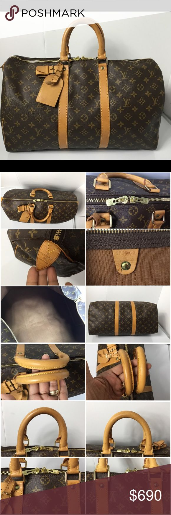 100% Authentic Louis Vuitton Monogram Keepall 45 100% Authentic Louis Vuitton Monogram Keepall 45 with Luggage Tag, Extender Lock and Key. Pre-Owned Bag in very good used condition. No rip , no crack, no tears on the canvas. Very clean inside. No bad odor. Leather, Handle and Bottom area has stains, marks and sign of wear. MADE IN FRANCE - DATE CODE SP1903 ( October 1993 )  Please check all the pictures. -In order to avoid unnecessary return. 100% authentic or your money back - no return…