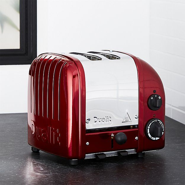 Showing off its classic design in candy apple red, the Dualit toasters are designed for heavy-duty use and will last a lifetime. Hand assembled as has been done for decades, the manually operated toasters have a switch to control browning and defrost and bagel functions.