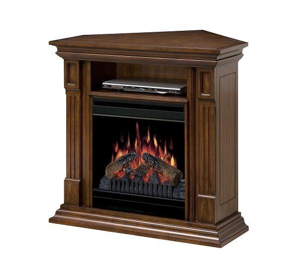 "Dimplex Deerhurst Walnut electric fireplace media cabinet with 20"" firebox; $699 cdn."