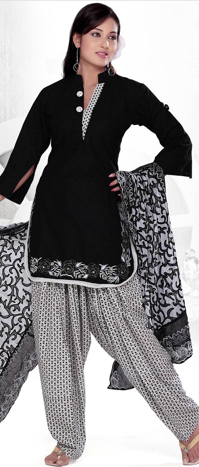 #Black Readymade #Cotton #Salwar Kameez @ $59.61 | Shop @ http://www.utsavfashion.com/store/sarees-large.aspx?icode=kgf3545