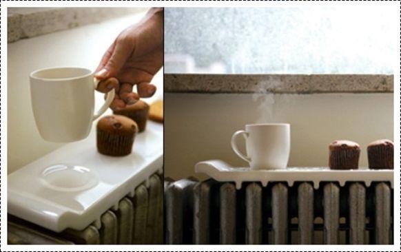 Buena idea para dejar el cafe caliente y el panecillo