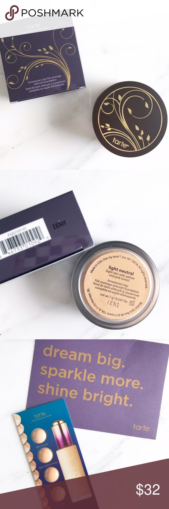 tarte amazonian clay airbrush foundation PRICE FIRM | shade: light neutral | new in box | full size | comes w a tarte card and foundation sample card | this foundation is waterproof which perf for the summer ☀️ tarte Makeup Foundation