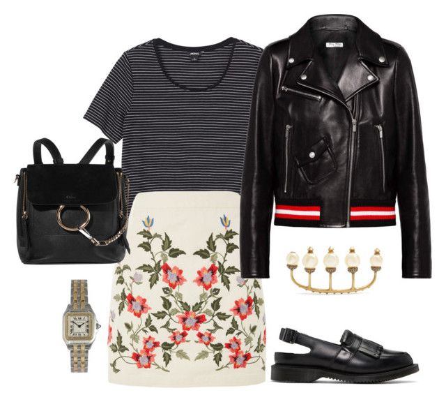 """""""Untitled #622"""" by szudi on Polyvore featuring Monki, Topshop, Miu Miu, Dr. Martens, Chloé, Gucci and Cartier"""