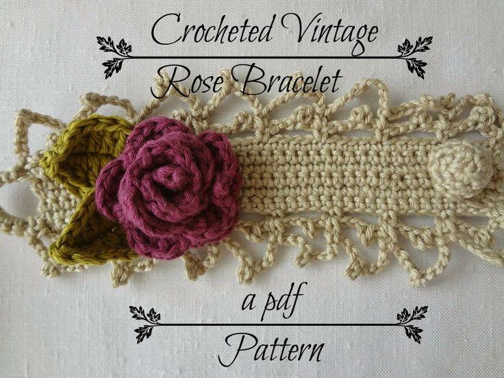 Rose crochet bracelet Tutorial ♡ Teresa Restegui http://www.pinterest.com/teretegui/ ♡