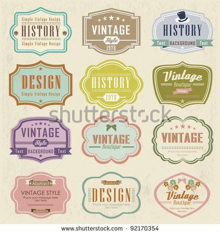 Colorful Vintage Labels Free Vector All Download Graphic Image From Category Business Finance