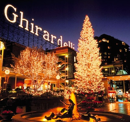 Everyone needs to take a trip to San Fran durning the holidays. It's a whole different world.  Akt  Ghiradelli Square Chocolate Factory, San Francisco....will see again one day