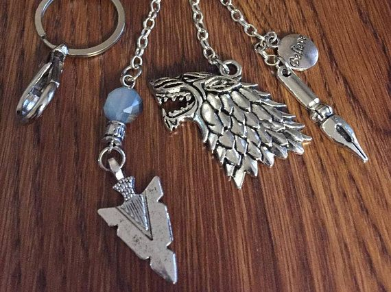 HOLIDAY SALE Game of Thrones KeyChain with Direwolf Ornate
