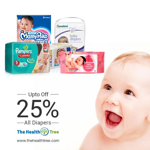 Get up to 25% #discount on skin-friendly #Diapers and make your child feel comfortable all the time.  #thehealthtree