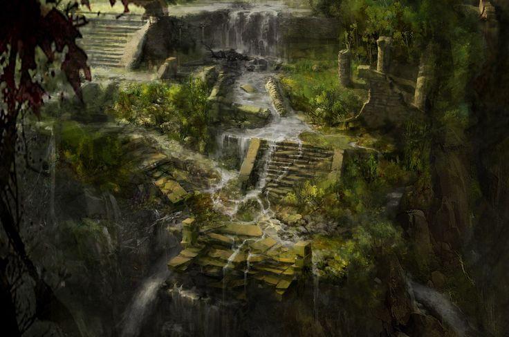 Cozumel_Temple Exterior Waterfall_Assassina Creed 3, Max Qin on ArtStation at http://www.artstation.com/artwork/cozumel_temple-exterior-waterfall_assassina-creed-3-74754303-0c20-4d51-98b5-2db41e115809