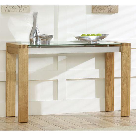 Arturo Solid Oak U0026 Glass Console Table