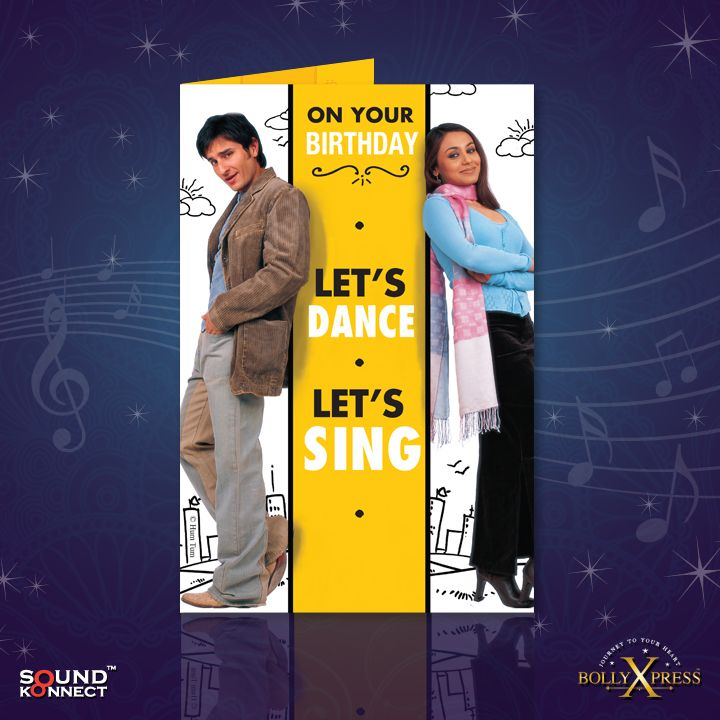 BollyXpress Birthday Card Featuring The Song Chak De From Yash Raj Films Hum Tum