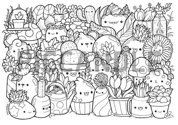 Plants Doodle Coloring Page Printable Cute Kawaii Coloring Page