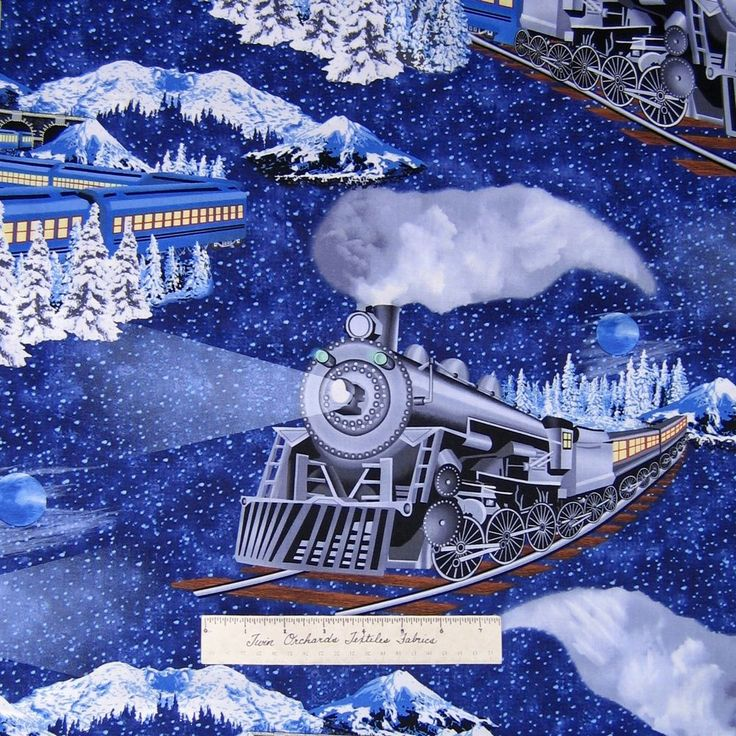 Christmas fabric large train polar express blue timeless for Fabric with trains pattern