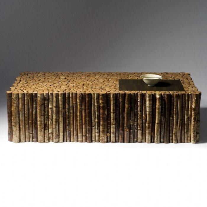 Table basse contemporaine en bois en mat riau de for Table basse recuperation