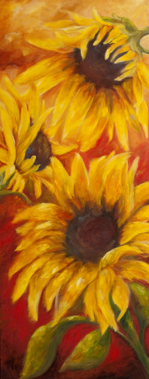 Sunflowers Original Oil painting by chrisbrandley on Etsy, $825.00