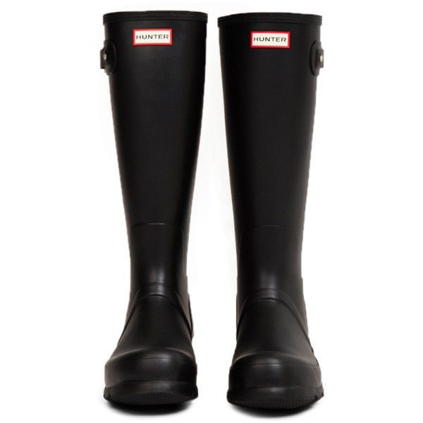 Original Tall Black Rain Boot ($120) ❤ liked on Polyvore featuring shoes, boots, rubber boots, tall rain boots, black knee high boots, waterproof rubber boots and wellington boots