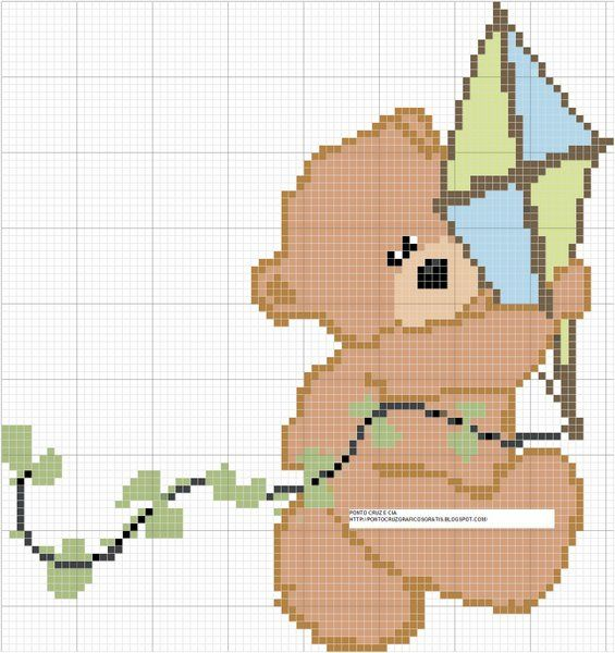 Bordado passo a passo: Gráficos de ursinhos