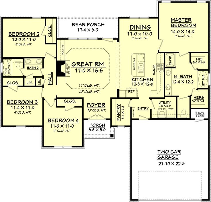 four bedroom efficient design under 1800 square feet this home offers 4 bedrooms 2 baths - Four Bedroom House Plans