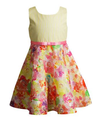 Yellow & Pink Floral Bow-Sash A-Line Dress - Girls
