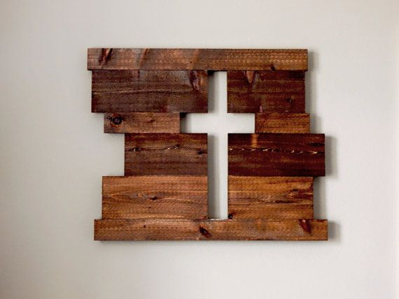 Rustic Sign Wood Sign Wood Cross Large by creativerusticdesign