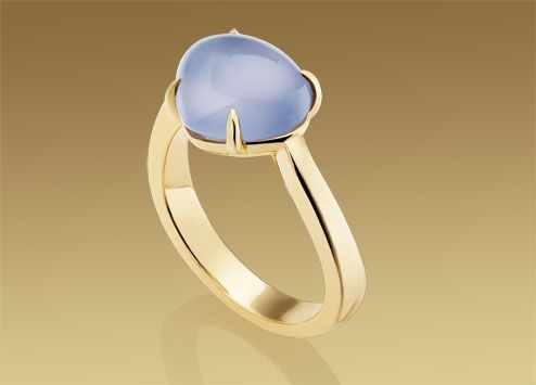I like the shape of this ring. Bulgari - Mediterranean Eden ring in 18kt yellow gold with blue chalcedony
