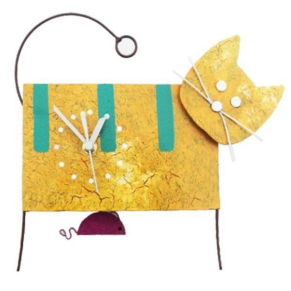 Oxidos Cat Wall Clock - Yellow