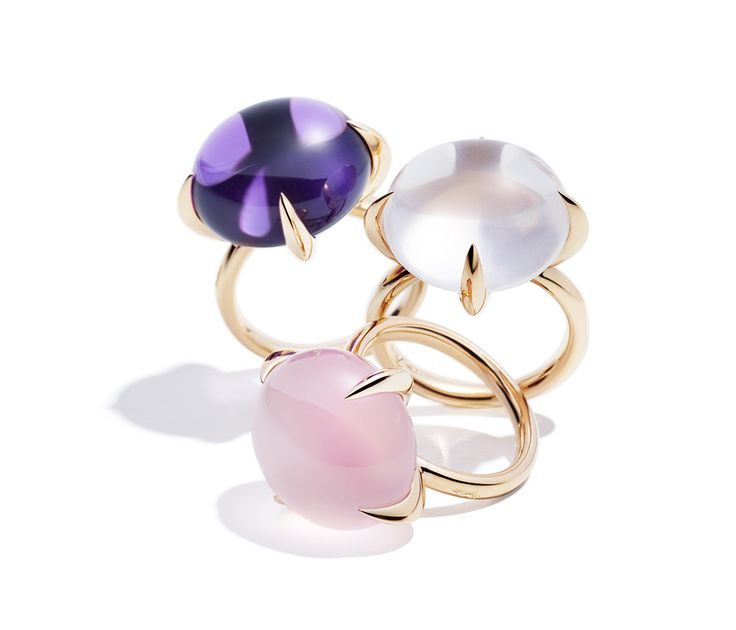 Pomellato Veleno Rings in Rose Gold w/ Amethyst, White Quartz & Pink Quartz