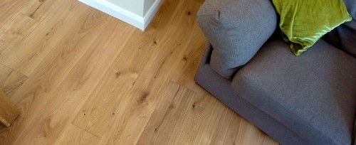 Kolonial wire brushed solid wood flooring by Esco topcoated with Polyx Oil by Fine Oak Flooring